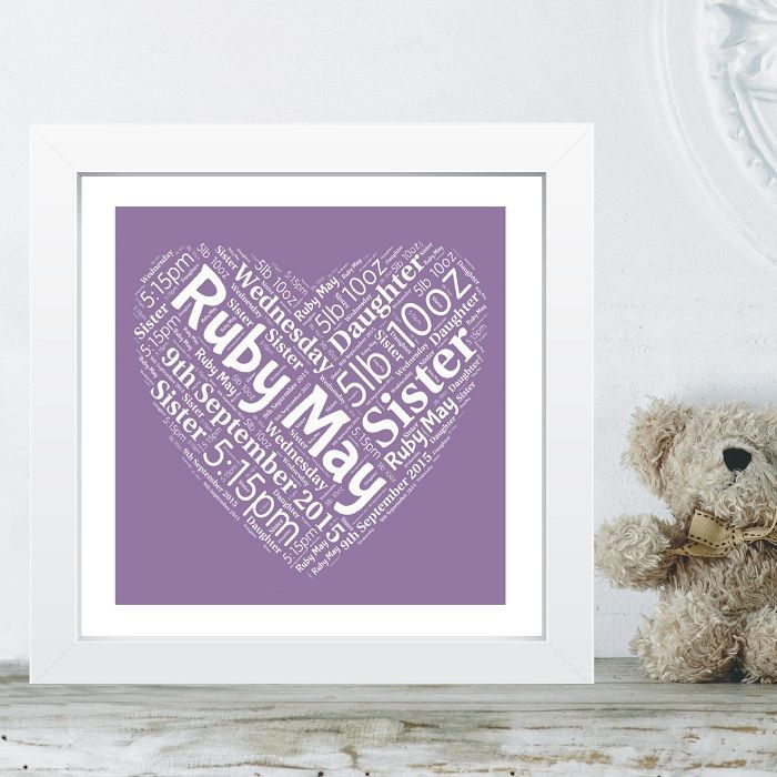 Framed New Baby Heart Word Cloud - Ideal Christening Naming Day Gift or Nursey Artwork